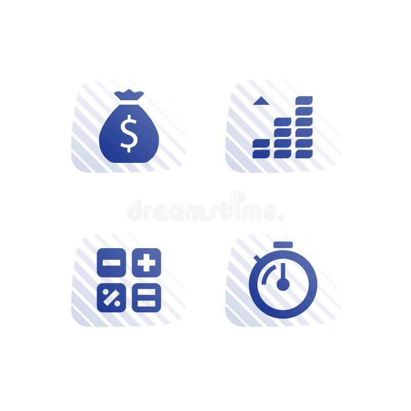 Рассрочка оплаты, инвесторская компания, рост дохода, выгода поддержки, больше денег, возвращение долгосрочных инвестиций, сберег иллюстрация штока