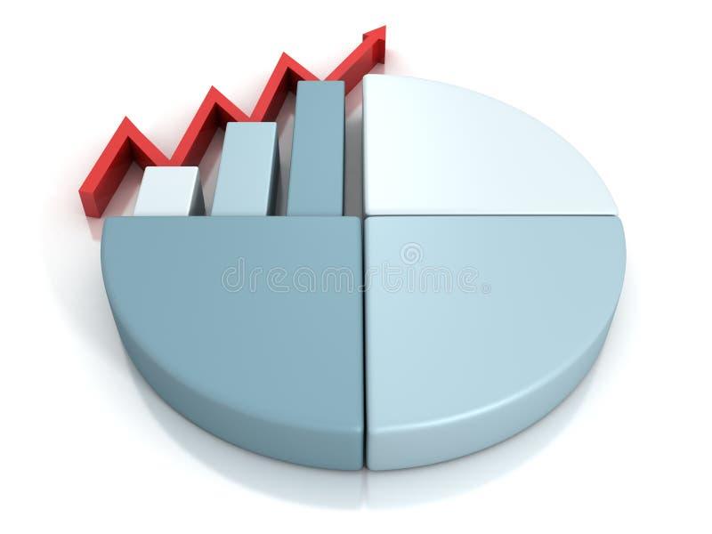 Расстегай дела финансовохозяйственные и столбчатая диаграмма и стрелка иллюстрация штока