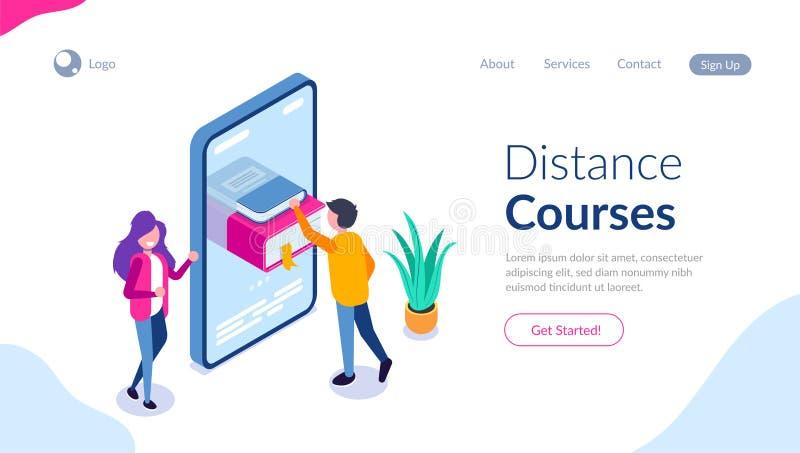 Расстояние течет равновеликая концепция Онлайн иллюстрация библиотеки для сети Человек получает литературу на его мобильном телеф иллюстрация вектора