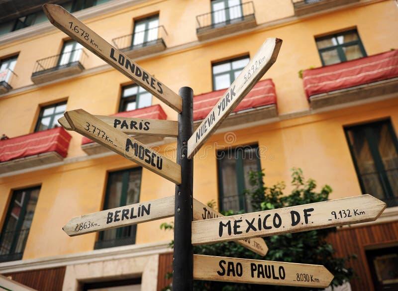 Расстояния и ориентация городов мира от Малаги, Испании стоковые изображения rf