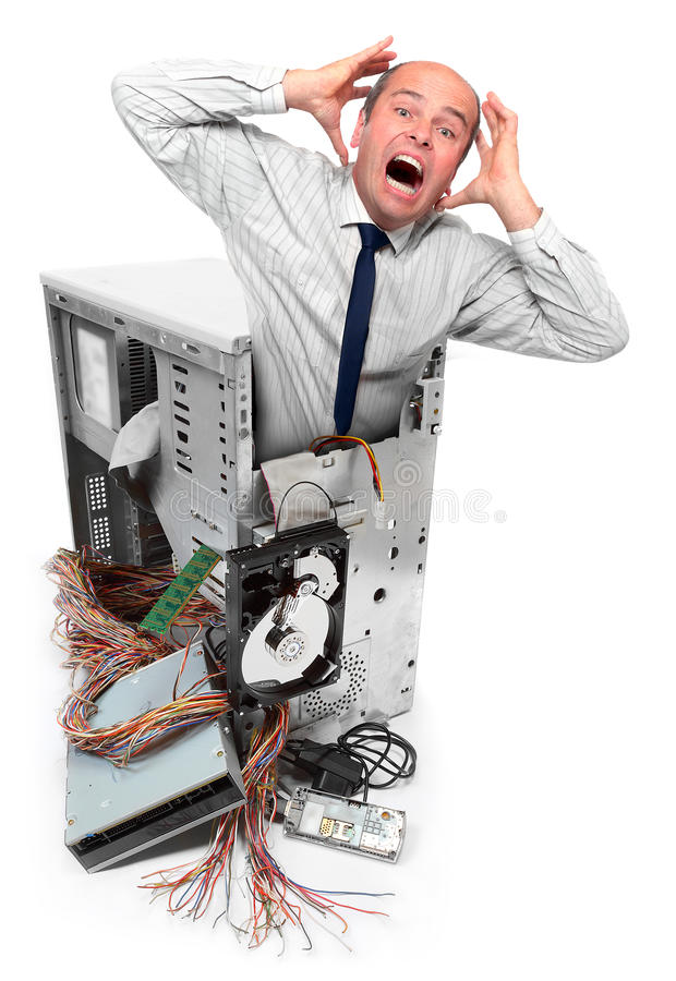 расстроенная авария компьютера бизнесмена стоковое изображение