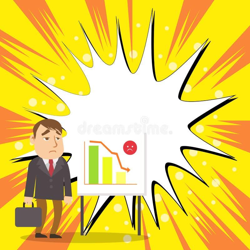 Расстроенный бизнесмен или работник с портфелем готовя Whiteboard на стойке иллюстрируя склоняя диаграмму в виде вертикальных пол бесплатная иллюстрация