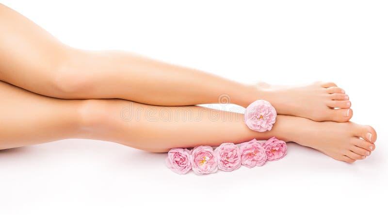 Расслабляющий pedicure с розовым розовым цветком стоковая фотография