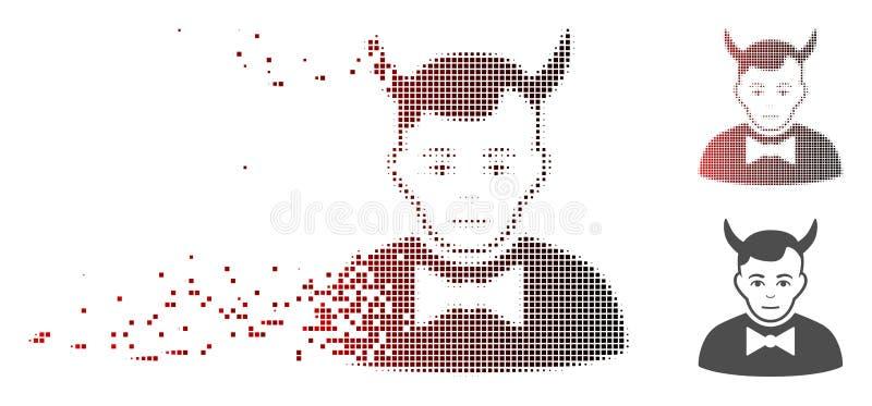 Растворенный значок дьявола полутонового изображения пиксела иллюстрация штока