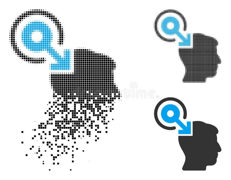 Растворенный поставленный точки значок Plug-In интерфейса мозга полутонового изображения иллюстрация вектора