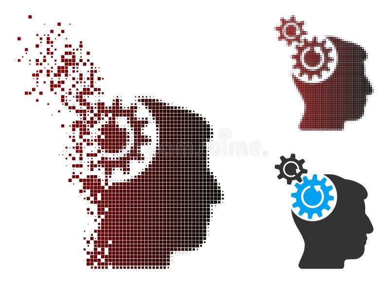 Растворяя значок вращения Cogs головы полутонового изображения пиксела иллюстрация вектора