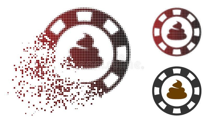 Растворяя значок обломока казино дерьма полутонового изображения пиксела иллюстрация штока