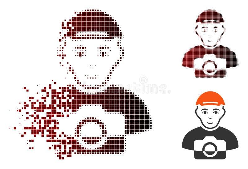 Растворяя значок папарацци полутонового изображения пиксела иллюстрация штока