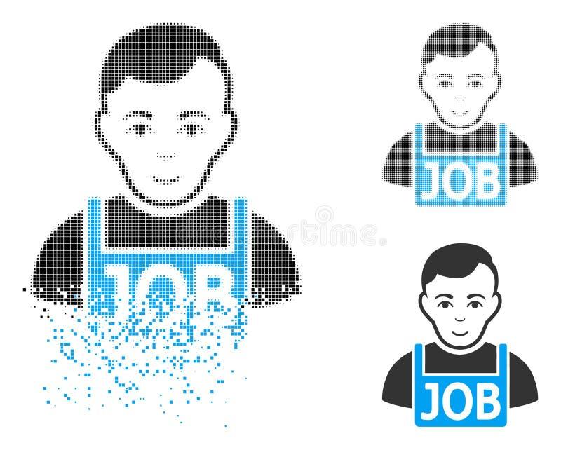 Растворяя значок полутонового изображения пиксела безработный с стороной иллюстрация штока