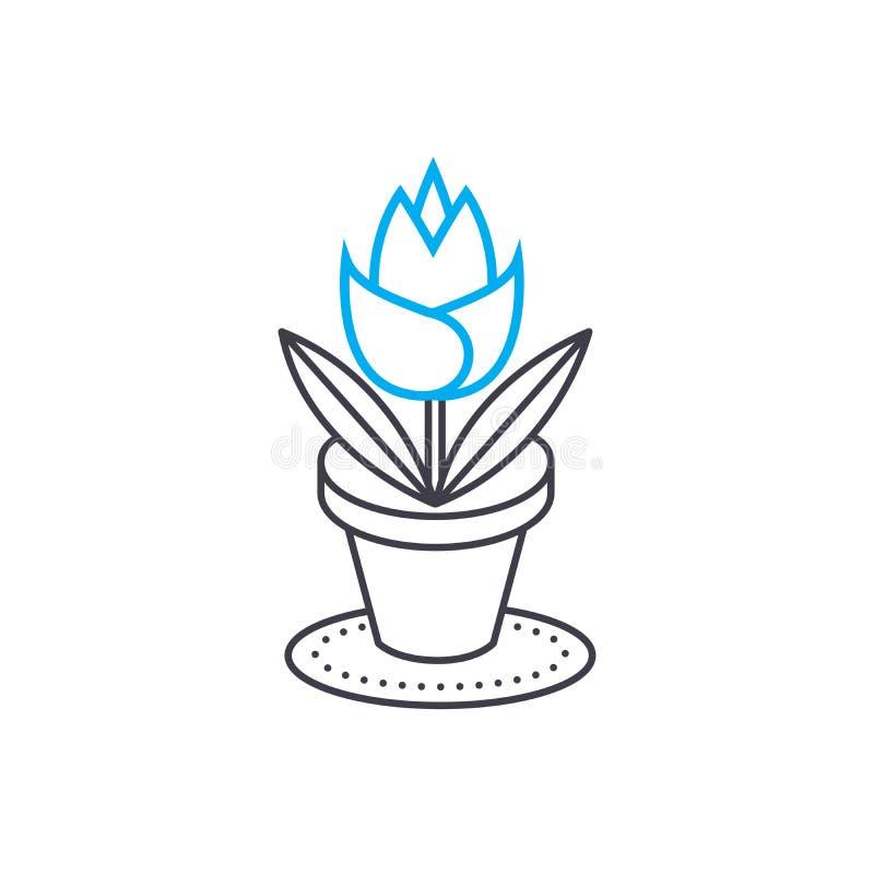 Расти дома цветет линейная концепция значка Расти дома цветет линия знак вектора, символ, иллюстрация иллюстрация штока