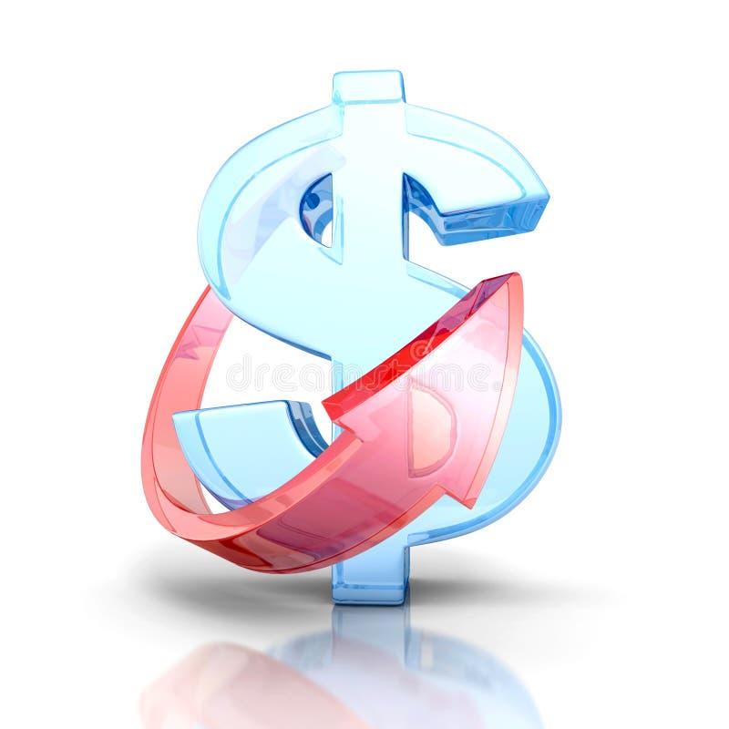 Расти символа валюты доллара с стрелкой финансы яичка диетпитания принципиальной схемы предпосылки золотистые иллюстрация штока