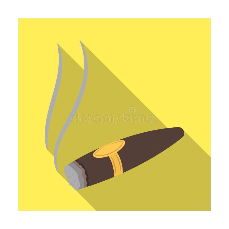 Растрепанная сигара с дымом Знак власти в казино Значок Kasino одиночный в плоском запасе символа вектора стиля иллюстрация штока
