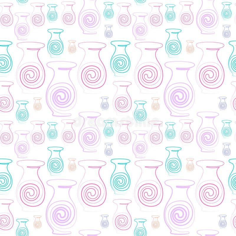 Растр картина пестротканых ваз, безшовная картина контура для обоев, тканей, тканей иллюстрация штока