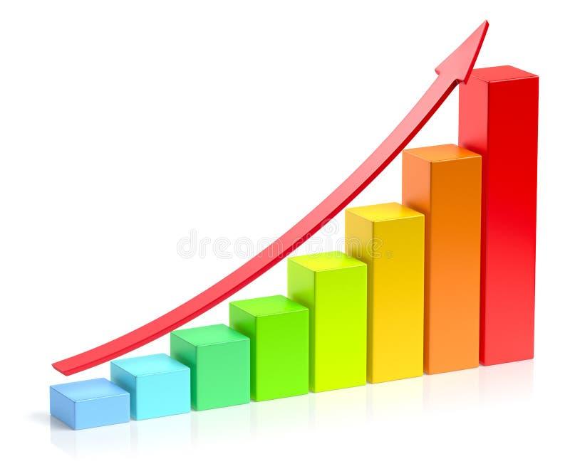 Растущая красочная диаграмма в виде вертикальных полос с красным conce успеха в бизнесе стрелки иллюстрация штока