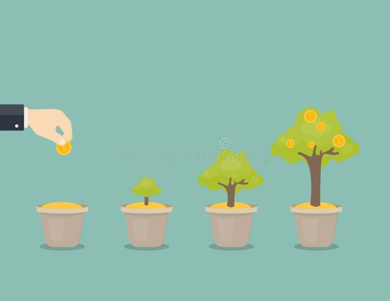 Растущее дерево денег иллюстрация штока