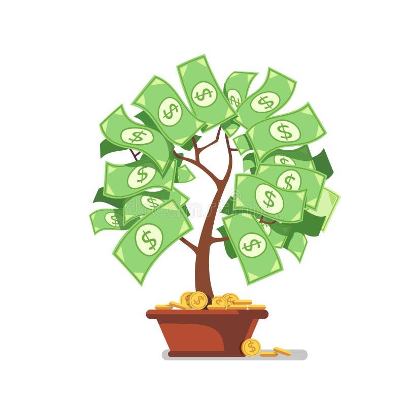 Растущее дерево денег банкноты и монетки наличных денег иллюстрация штока