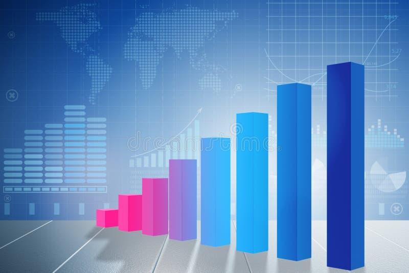 Растущие диаграммы в виде вертикальных полос в концепции восстановления экономики - переводе 3d иллюстрация штока