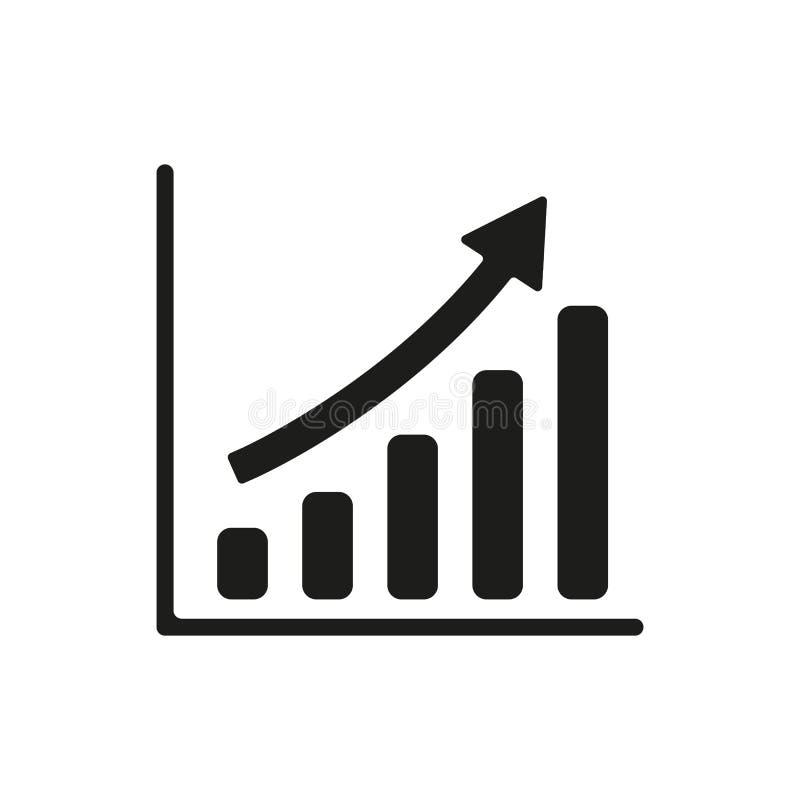 Растущий значок диаграммы Символ прогресса плоско иллюстрация вектора