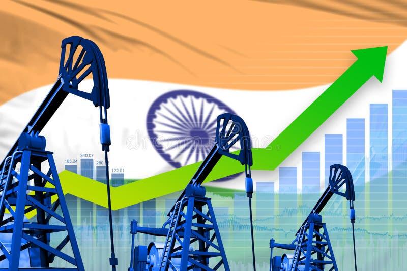 Растя диаграмма на предпосылке флага Индии - промышленной иллюстрации нефтедобывающей промышленности Индии или концепции рынка : иллюстрация штока
