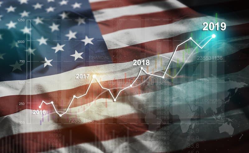 Растя статистика финансовое 2019 против Соединенных Штатов Americ иллюстрация вектора