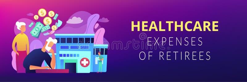 Расходы здравоохранения заголовка знамени концепции пенсионеров иллюстрация штока