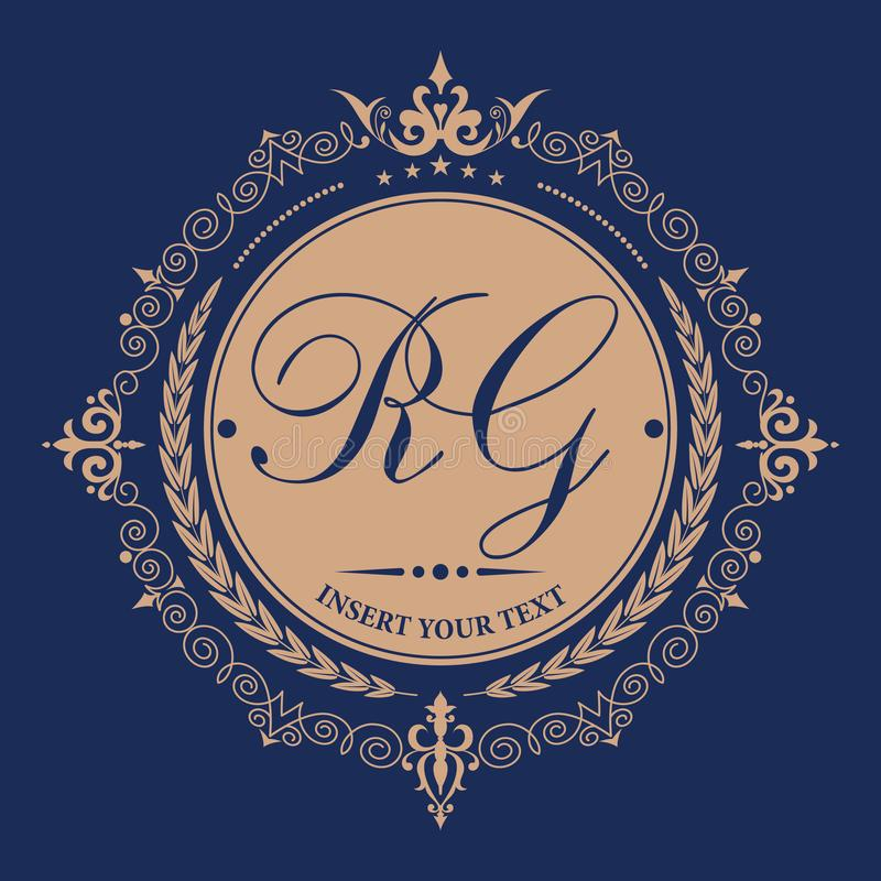Расцветает каллиграфический шаблон эмблемы вензеля Элегантный логотип эмблемы для ресторанов, гостиниц, баров и бутиков иллюстрация вектора