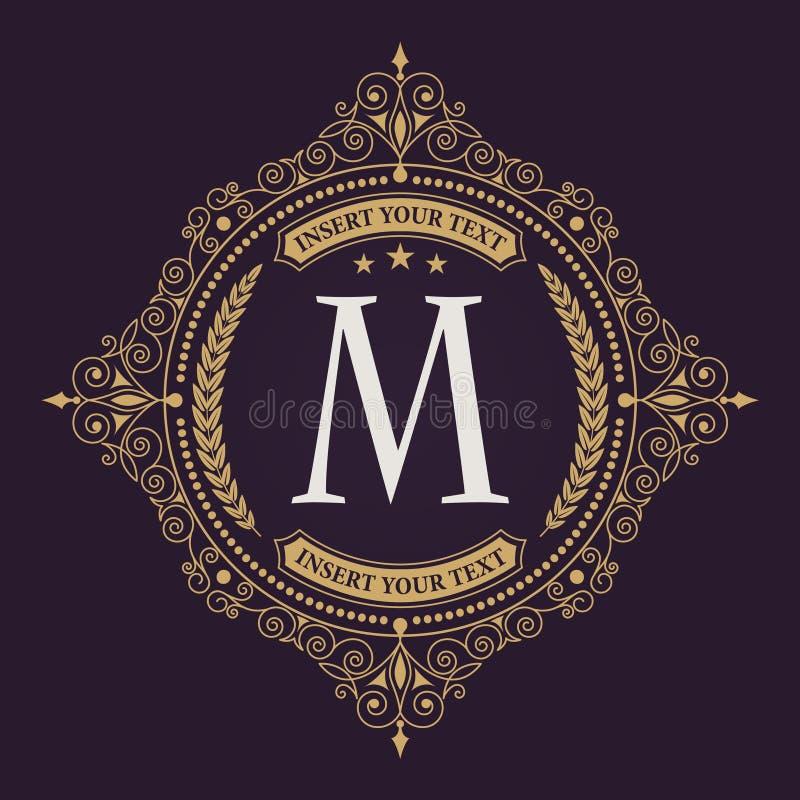 Расцветает каллиграфический шаблон эмблемы вензеля Элегантный логотип эмблемы для ресторанов, гостиниц, баров и бутиков бесплатная иллюстрация