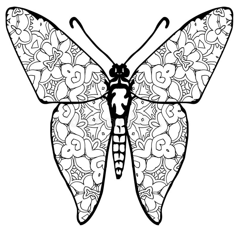 Расцветка бабочки для детей и взрослых на моменты релаксации стоковые фотографии rf