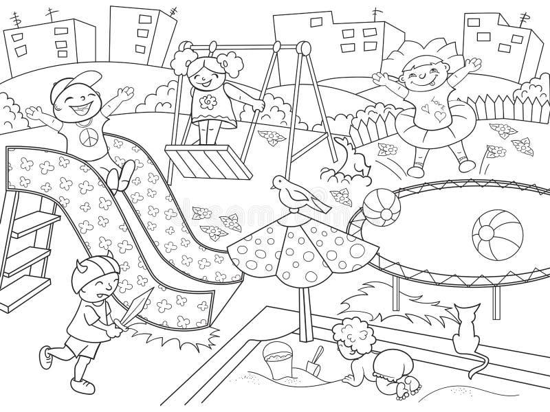 Расцветка спортивной площадки детей Иллюстрация вектора черно-белого иллюстрация штока