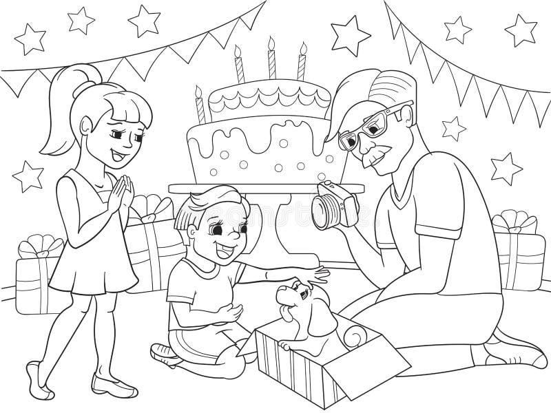 Расцветка шаржа детей праздника День рождения с подарками, памятная съемка Настоящий момент мальчика щенок к мальчику иллюстрация вектора