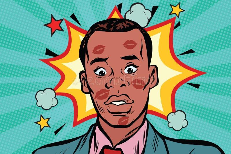 Расцеловал смущенного африканского человека с губной помадой на стороне бесплатная иллюстрация