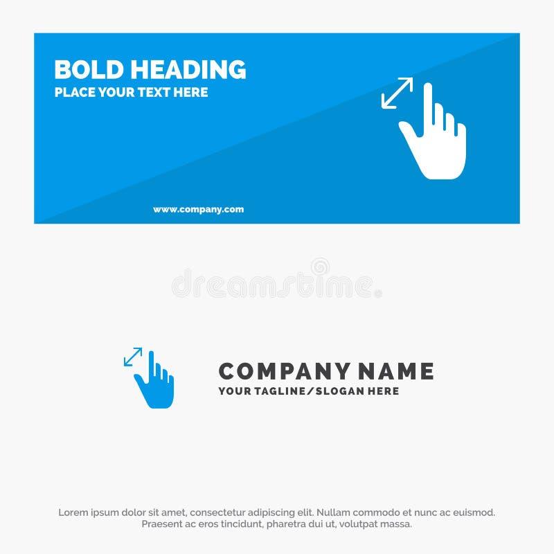 Расширьте, жесты, интерфейс, увеличение, знамя вебсайта значка касания твердые и шаблон логотипа дела иллюстрация вектора