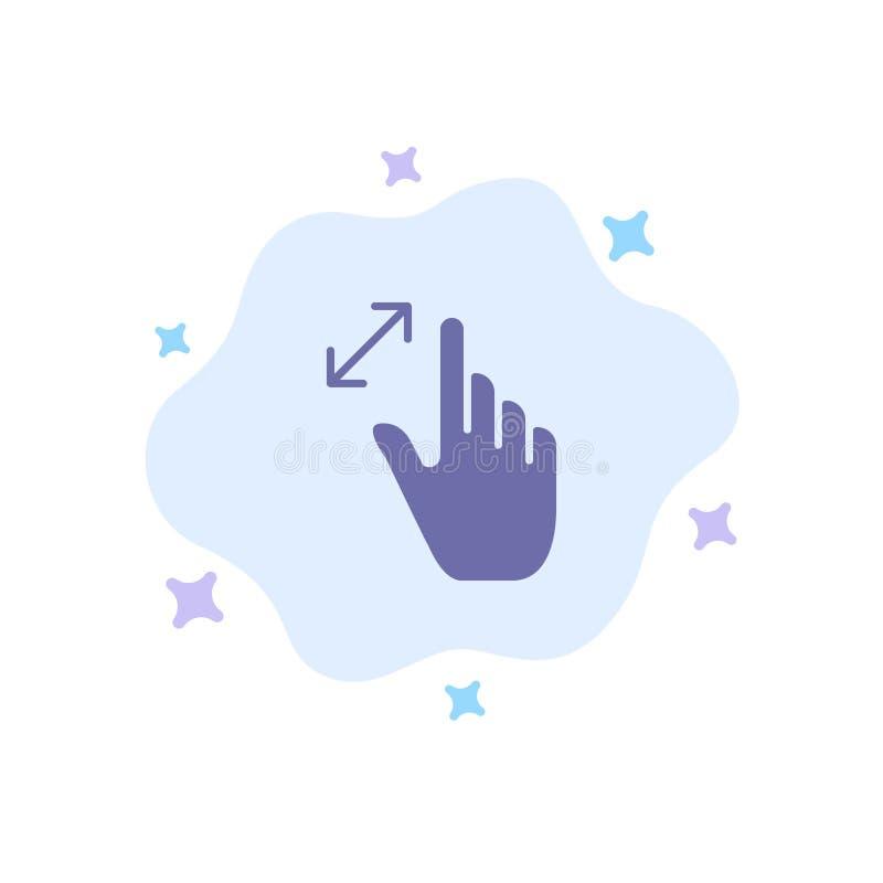 Расширьте, жесты, интерфейс, увеличение, значок касания голубой на абстрактной предпосылке облака иллюстрация вектора