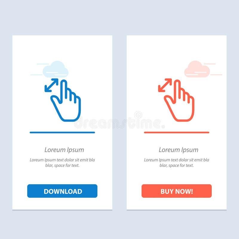 Расширьте, жесты, интерфейс, увеличение, синь касания и красная загрузка и купите теперь шаблон карты приспособления сети иллюстрация штока