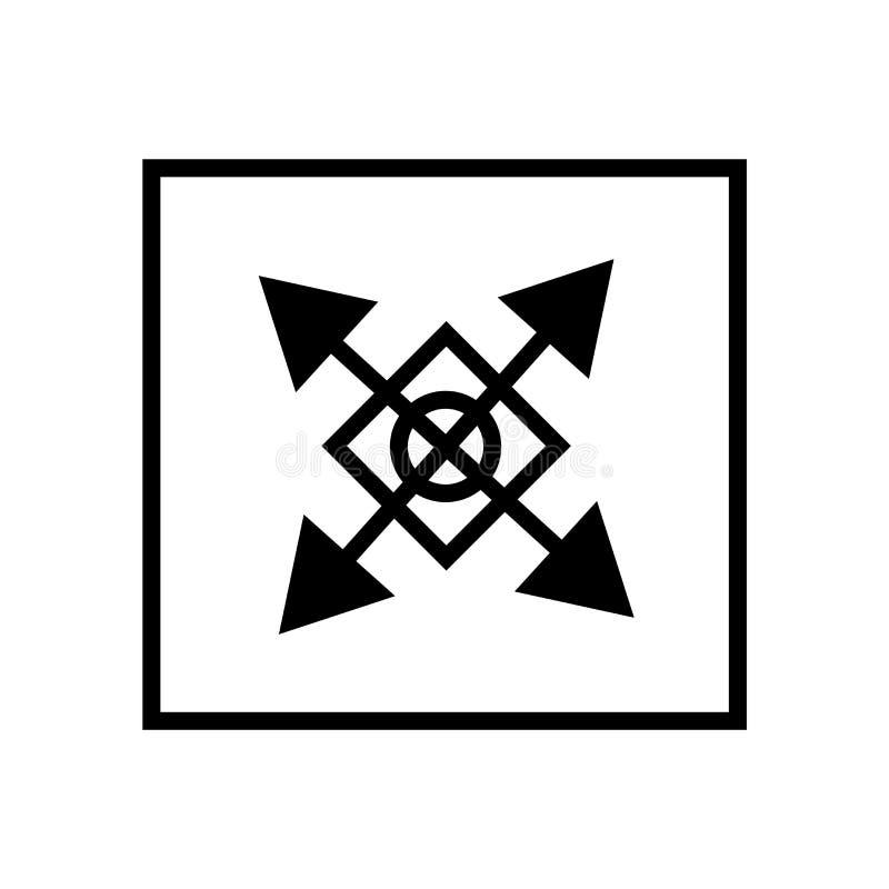 Расширьте знак вектора значка стрелок и символ изолированный на белой предпосылке, расширяет концепцию логотипа стрелок иллюстрация штока