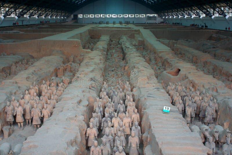 ратники xian terracotta лошадей фарфора стоковые изображения