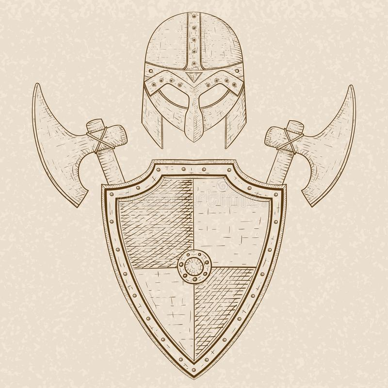 Ратник Викинга установил - экран, шпаги и шлем Эскиз нарисованный рукой на бежевой предпосылке иллюстрация вектора