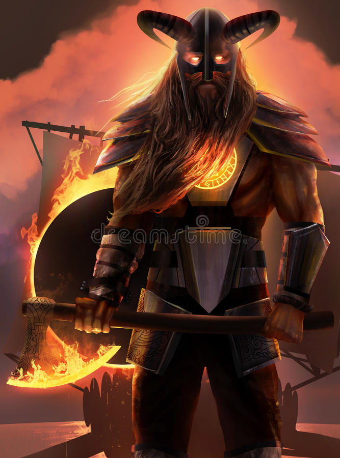 Ратник Викинга иллюстрация штока
