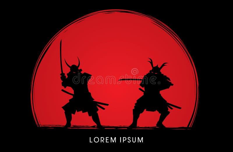 Ратник самураев с шпагой бесплатная иллюстрация