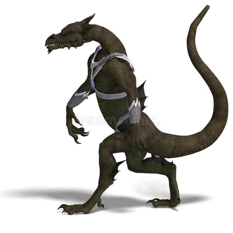 ратник фантазии дракона иллюстрация вектора