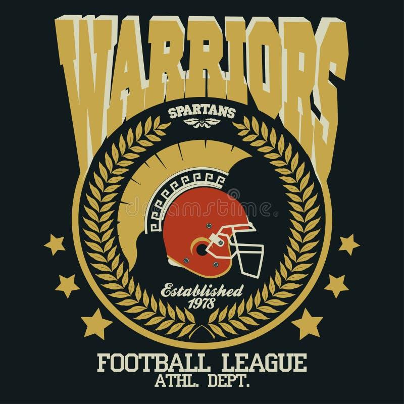 Ратник футболки футбола спартанский иллюстрация штока