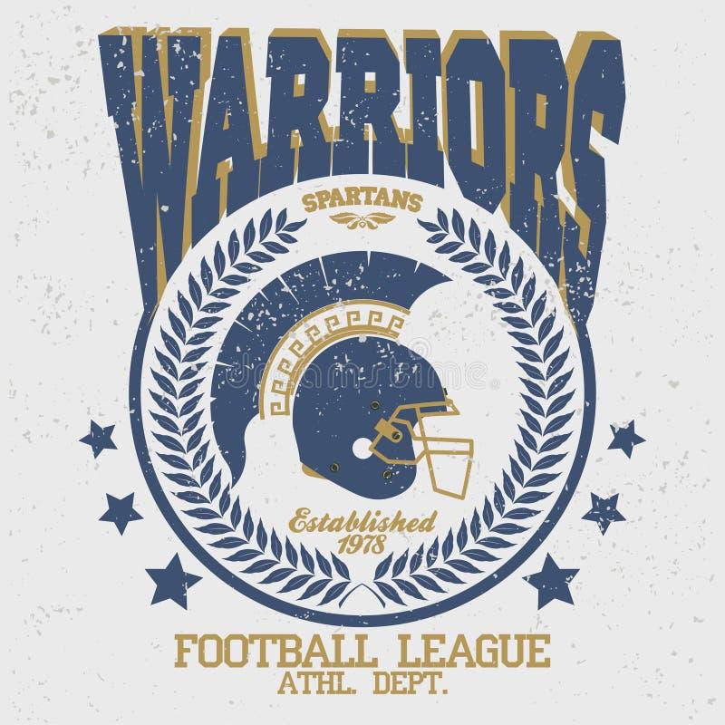 Ратник футболки футбола спартанский иллюстрация вектора