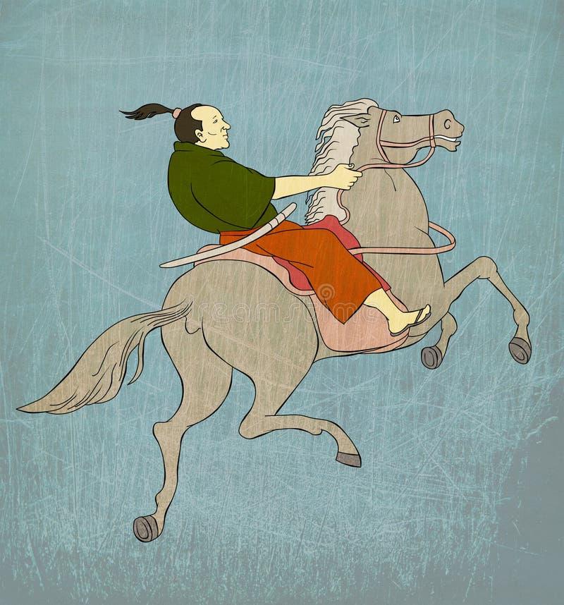 ратник шпаги позиции самураев katana бой иллюстрация штока