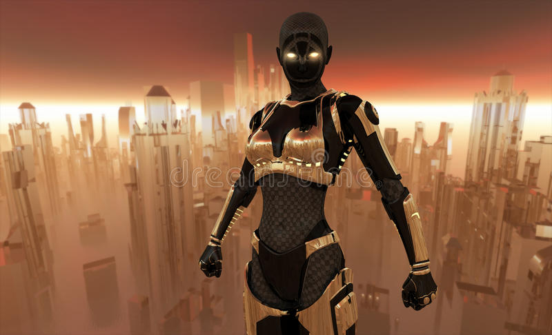 ратник cyborg иллюстрация вектора