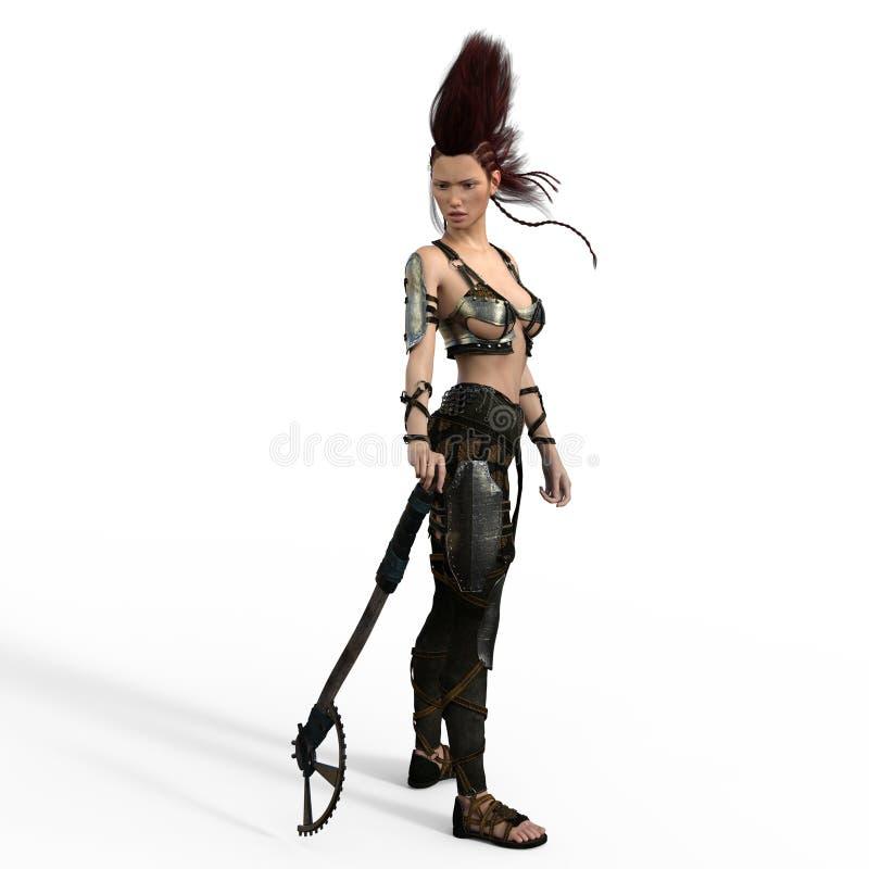 Ратник Mohawk с осью иллюстрация вектора