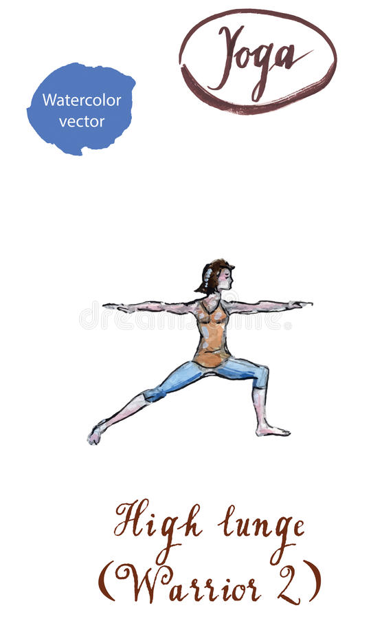 Ратник po Virabhadrasana 2 asana йоги молодой женщины практикуя иллюстрация штока