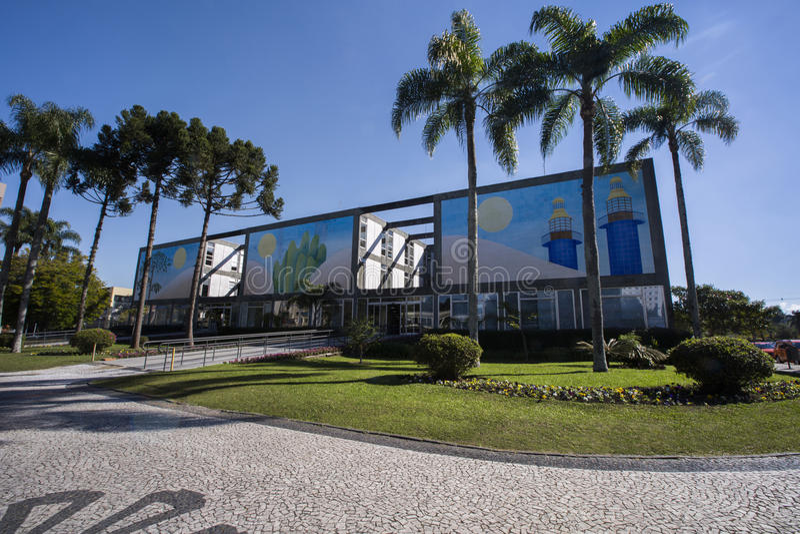 Ратуша положение городского пейзажа Curitiba, Parana, Бразилия Июль 201 стоковая фотография rf