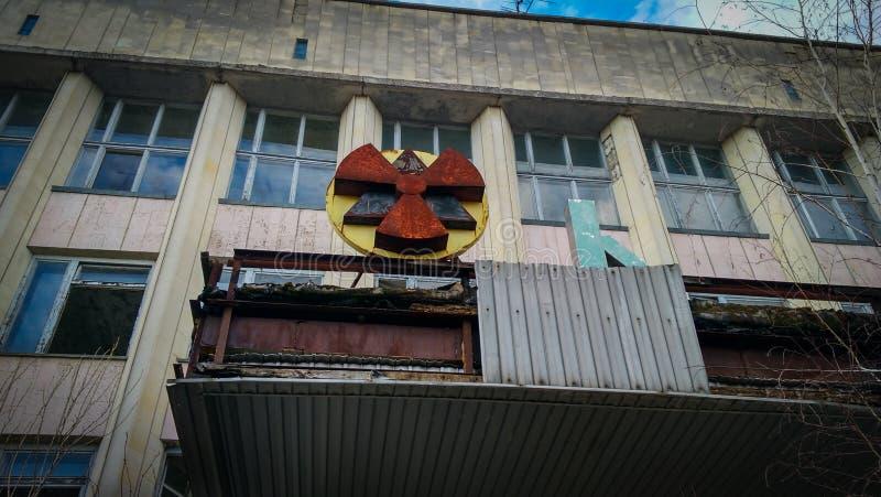 Радиация подписывает внутри Pripyat стоковое фото