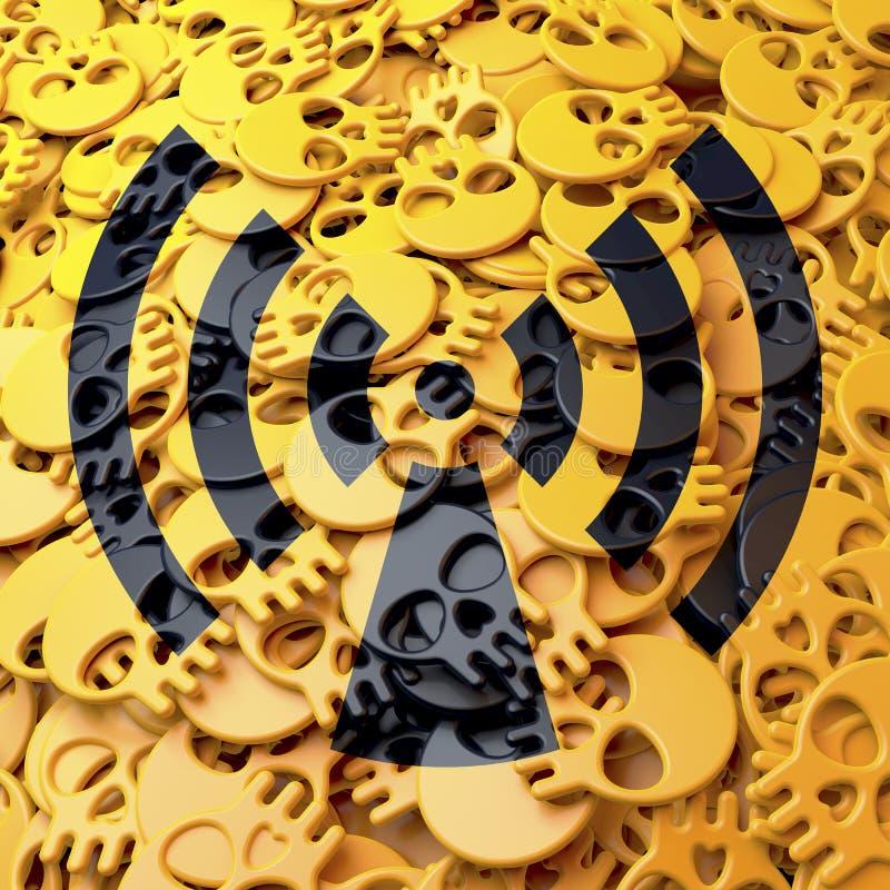 Радиация предупредительного знака, чернота, желтые черепа бесплатная иллюстрация