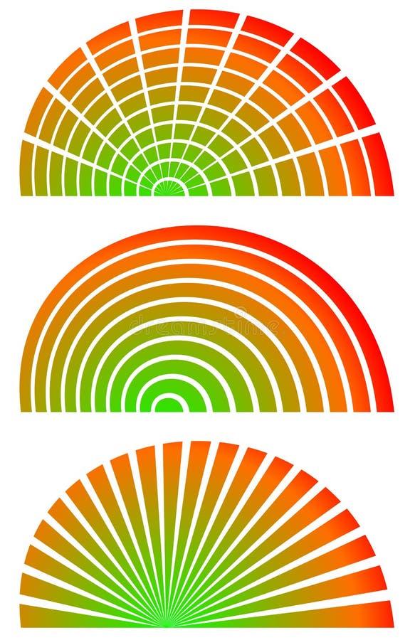 Download Радиальные элементы с заполнением спектра Комплект 3 циркуляра, Semicircl Иллюстрация вектора - иллюстрации насчитывающей элемент, померанцово: 81806637